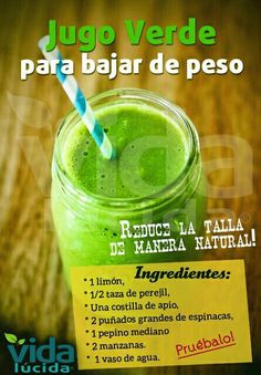 Jugo verde para bajar de peso - Green juice for weight loss Japanese Secret to Lose Weight Smart Apple, Pineapple and Honey Smoothie Best Online Tips To Start The Only Detox Journey You'll Ever Need Weight Loss Experts Are Baffled By Ancient African Red T Healthy Juices, Healthy Smoothies, Healthy Drinks, Healthy Tips, Smoothie Recipes, Healthy Recipes, Vitamix Recipes, Canning Recipes, Detox Recipes