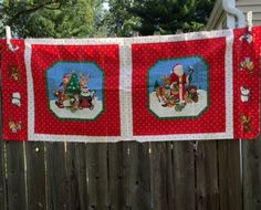 Primitive Santa Christmas Tree Fabric Panel Woodland Animals Sewing Material New #Unbranded