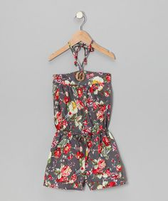 Take a look at this Gray & Red Blossom Flower Romper - Infant, Toddler & Girls by the Silly Sissy on #zulily today!
