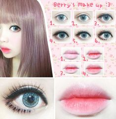 Tsukasas Make-up # Asiatisches Make-up # Japanisches Mädchen Lolita Makeup, Gyaru Makeup, Ulzzang Makeup, Doll Makeup, Beauty Makeup, Lolita Goth, Makeup Style, Makeup Eyes, Make Up Looks