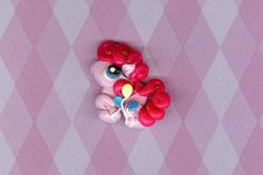 Pinkie Pie My Little Pony Inspired Polymer Clay Beads and Bow Centers, Jewelry, Charm, Pendant, Hair Bow Center. $2.99, via Etsy.