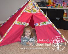 Free Sewing Tutorial: Make a Tipi from a Flat Sheet