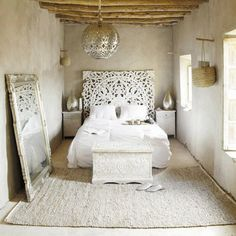 In love with the stunning white,romantic, and rustic bedroom! Love the headboard