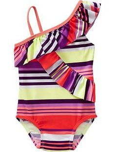 WHaaat cutest baby swimsuit ever! Ruffled-Trim One-Shoulder Swimsuits for Baby | Old Navy