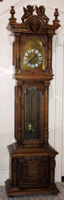 GERMAN STYLE WHITE OAK GRANDFATHER CLOCK 20TH C.  Oh. How I would love you.......