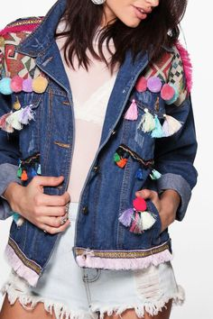 Boutique Lea Embroidered Pom Pom Denim Jacket at boohoo.com