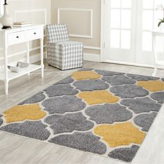 Platinum Shag Plush Modern Area Rug By Mod-Arte (Grey/Yellow - Gold Yellow Rug, Yellow Area Rugs, Grey Yellow, Gray, Yellow Theme, Online Shopping, Online Home Decor Stores, Plush Area Rugs, Moroccan Pattern