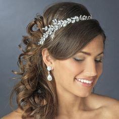 Bridal headband, Wedding headpiece, Rhinestone headband, Leaf headpiece, Crystal tiara, Wedding tiara