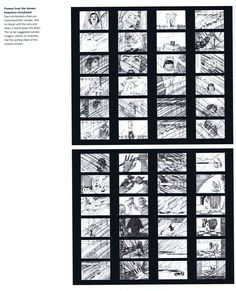 Saul Bass's original storyboards for the famous shower scene in Psycho Saul Bass, American Psycho, Title Card, Storyboard, Street Art, Cinema, Around The Worlds, Scene, Draw