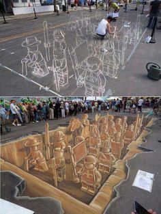 street art is alternatively known as pavement, chalk or sidewalk art and is a form of anamorphic art. Sprawling over sidewalks, walls, and public spaces this 3d Street Art, Amazing Street Art, Street Art Graffiti, Amazing Art, 3d Art, 3d Chalk Art, Chalk Artist, Pavement Art, Sidewalk Chalk Art