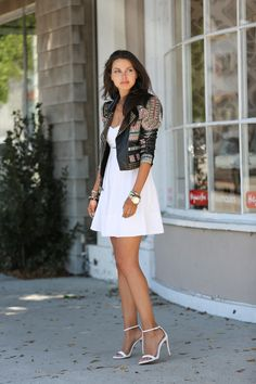 VIVALUXURY - FASHION BLOG BY ANNABELLE FLEUR: SERIOUSLY STUDDED BCBG Runway Ossie jacket - sold out { also love this one and this } | Proenza Schouler PS11 bag | Zara heels | Samantha Wills Tusk dynasty bangle | Sequin enamel bangles via Nordtstrom | Club Monaco Tamarah dress - sold out July 20, 2013
