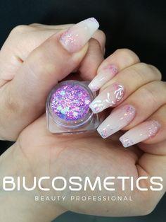 BIU NAILS  - Pó de Acrílico Branco e Acrílico Camuflagem  - Glitter Flower Arco Iris - Paint Gel White  #biunails #biucosmetics #biulover #biucolors #nails #nailsaddict #nailart #nailslover #nailsfashion #lovelynails