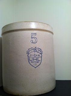 Antique Crock - UHL Pottery - Number 5, Blue Acorn and Oak Leaf -  $195