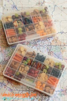 Kids can't fight if their mouths are full. But instead of handing them a bag of chips, use these plastic organizers that let you measure out portions and sneak a few healthy foods into the mix. Click through for more on this and other road trip organizers.