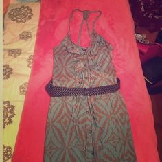 I ❤️ Ronsob dress with belt I've never worn this dress. Stretchy, cotton fabric. Belt included. Ruffles and buttons, would look great with boots or heels. Straps may need to be adjusted. That's what I needed to do and just never got around to it. Main color is a blue-ish gray, like a dusty blue.  NWT- it doesn't have the price tag, but still has the pink ribbon on the XS tag. Dresses