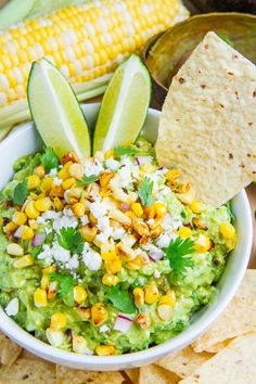 Corn and Cotija Guacamole (aka Esquites Guacamole) perfect for your football party! #superbowl