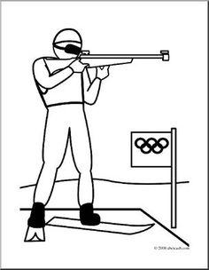 Clip Art: Winter Olympics: Biathlon (coloring page) I abcteach.com - large image
