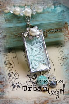 Janie Lane Collection - Urban Cowgirl Jewelry - OOAK Pendant - Soldered Glass Bevel and Lace. $32.00, via Etsy.