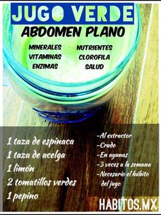 Jugo para abdomen plano  #Nutrición y #Salud YG > nutricionysaludyg.com