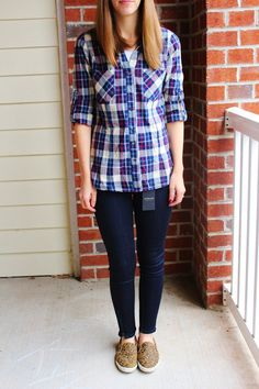 Skies Are Blue, Charlene Plaid Cotton Button - I love the colors on this plaid shirt.