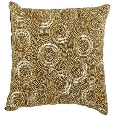 Calico Swirl Beaded Pillow - Gold from Pier 1 imports. Shop more products from Pier 1 imports on Wanelo. Gold Accent Pillows, Silver Pillows, Luxury Cushions, Luxury Throws, Decorative Cushions, Blue Accents, Soft Furnishings, Cushion Covers, Decoration