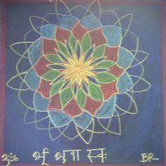 Flower Mandala with the beginnng of the Gayatri Mantra in Sanskrit.