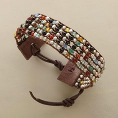 "TERRA FIRMA BRACELET -- From Chan Luu, a down-to-earth beauty in dyed jade and faceted silver beads, handloomed and leather tipped with a three-hole button loop for a secure fit. 6-1/2"" to 8-1/2""."