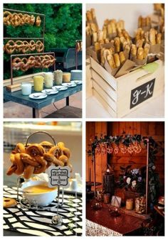 Pretzel stations or bars are among the hottest wedding catering trends now, and if you like them, it's high time to rock such a bar!
