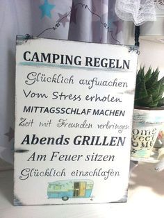 Camping Regeln, Holzschild für den Wohnwagen, Reisen / wooden sign with camping rules made by Dandelion Schilder via DaWanda.com
