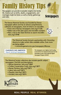 US GENEALOGY - Kansas Newspapers Online thanks to the Kansas Historical Society. Thanks to Angela McGhie for this tip!