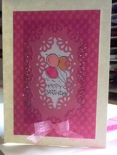 Birthday card using Martha Stewart frame border punch