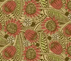 Flora Africa Protea fabric by cjldesigns on Spoonflower - custom fabric. A deeper red, this fabric on a sitting chair for living room. Textile Design, Fabric Design, Pattern Art, Pattern Design, Photo Mural, Africa Art, Textiles, Pretty Patterns, African Fabric