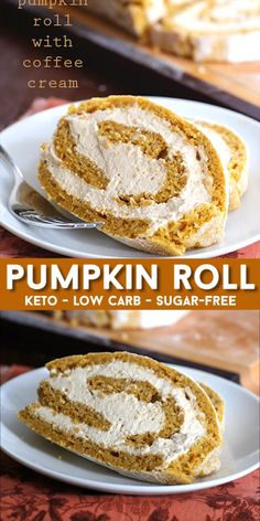 Pumpkin Roll with Coffee Cream Delicate and light keto pumpkin cake with a creamy sugar-free filling. This makes a beautiful and elegant low carb holiday dessert. Impress ALL your friends, even the non-keto folks. Diabetic Desserts, Sugar Free Desserts, Sugar Free Recipes, Low Carb Desserts, Low Carb Recipes, Dessert Recipes, Dinner Recipes, Low Carb Cakes, Sugar Free Cakes