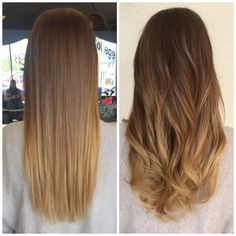 Straight/wavy blonde balayage ombre