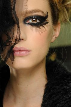 CHANEL | S/S 2013 Black metallic eye with lace appliqué | #beauty #eyes