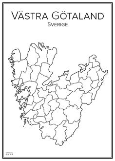 Västra Götaland. Sweden. Map. City print. Print. Affisch. Tavla. Tryck. Map Art, Norway, Sweden, Scandinavian, Maps, Monogram, Posters, City, Prints
