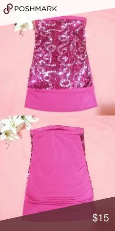 Hot pink sequins tube top This hot pink tube top is perfect  for a night out on the town. Size is medium but with room. Doesn't fall down at all and is great for dancing. Wet Seal Other