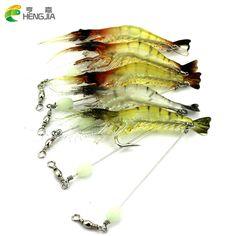 100PCS HENGJIA luminous shrimp soft lure 7.5CM 6.6G fishing bait isca artificial soft baits leurre souple Fishing Shrimp Bait