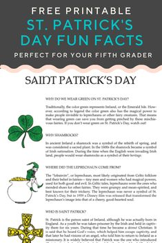 Ever wonder why we wear green on St. Patrick's day, or where the leprechaun came from? Find out with this worksheet on St. St Patricks Day History, St Patricks Day Quotes, St Patricks Day Food, Happy St Patricks Day, Saint Patricks, St Patrick Facts, Patrick Quotes, St Patrick's Day Trivia, St Patrick's Day Traditions