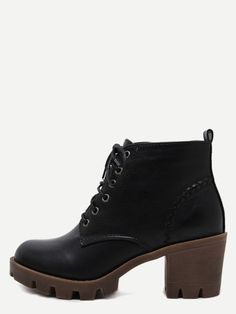3d575acbe229c0 Botines pu con cordones de tacón grueso - negro Chunky Boots