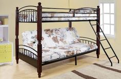 Kings Brand Twin / Full Cherry Finish Wood  Metal Convertible Futon Bunk Bed (Bunkbed) - List price: $999.99 Price: $219.99 Saving: $780.00 (78%)