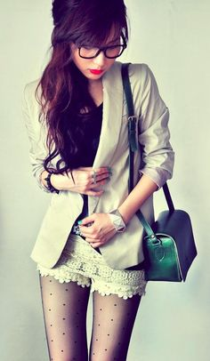 Lace shorts + blazer