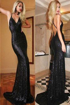 Long Mermaid Prom Dresses,Backless Prom Dress,Glittering Prom Dress – Simidress