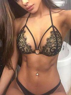 2016 Sexy Halter Black Lace Bikini Push Up micro bikinis Swimsuit cropped Swimwear Brazilian Biquini Bathing Suits