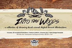 Welcome to White River Studio. You're looking at a unique hand-carved collection of digital linocut illustrations. We are excited to offer the INTO THE WOODS Woodland Illustration, Pencil Illustration, Digital Illustration, Graphic Illustration, Illustrations, Beer Label Design, Photoshop, Creative Sketches, Paint Markers