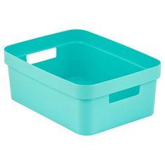 Room Essentials™ Turquoise Resin Weave Half Storage Bin - ... : Target