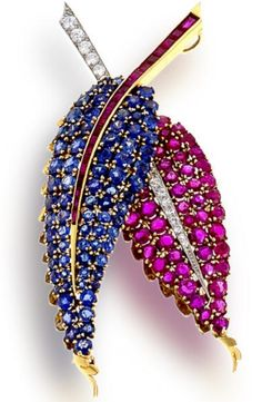 Blue and Pink Sapphire Leaf Brooch