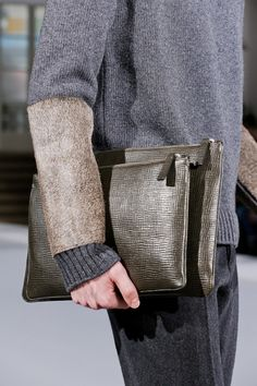 Jil Sander F/W '13 Menswear | very interesting mix of cowhide with knitwear