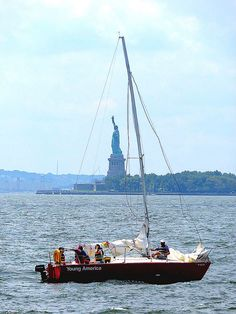 Sailing in New York Harbor, viewed from Battery Park City, New York City. August 4, 2014.