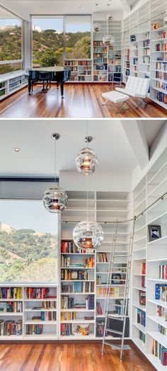 The View House By Aaron Neubert Architects - sigrid - The View House By Aaron Neubert Architects This modern home library has walls filled with open shelving and windows that look out to the neighborhood. Home Library Rooms, Home Library Design, Small Space Interior Design, Modern Library, Home Libraries, Interior Design Living Room, Library Wall, Design Desk, Book Design